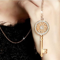 Shiny Rhinestone Key Women Sweater Necklace