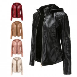 Casual Plus Size Plus Velvet Leather Jacket Hooded Short Jacket Warm Autumn Winter Women's Jacket