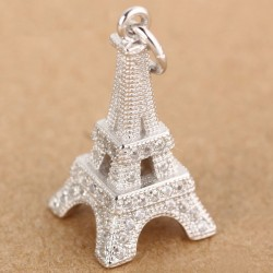 Fashion Eiffel Tower Silver Zircon Pendant Women Necklace
