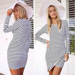 Striped Irregular Bottom Banquet Dresses