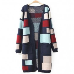 Fashion Colored Grid Long Cardigan Sweater Coat