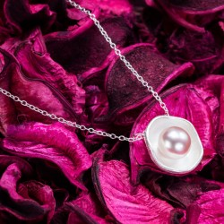 Unique Lotus Pattern Pearl Silver Pendant Necklace
