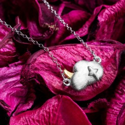 Personalized Hand Made Cloud Moon Silver Necklace