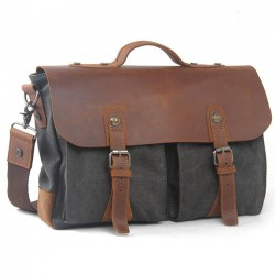 Vintage Real Leather Flap Handbag Leisure Large Thick Canvas Splicing Laptop Shoulder Bag
