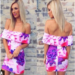 Colorful Off Shoulder Women Floral Print Dresses