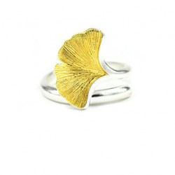 Ginkgo Leaf 925 Sterling Silver Jewelry Opening Ring