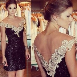Sexy Sequined Backless Gauze Lace Dress Prom Dress