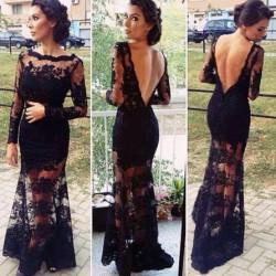 Sexy Black Backless Embroidered Long Lace Dress