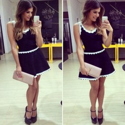 New White Lace Sleeveless Black Mini Dress