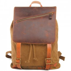 Retro Handmade Thick Real Leather Splicing Outdoor Men Backpack Large Travel Rucksack