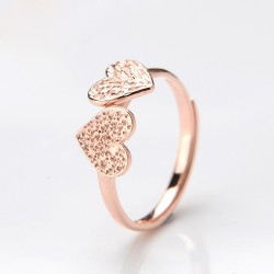 Original Lovers' Two Hearts Rose Gold Opening Ring