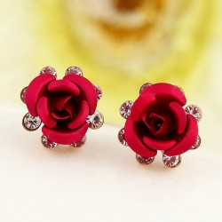 Fresh Rose Flower Rhinestone Elegant Lady Earring Studs