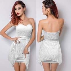 Nightclub Sexy Bow Waistband Irregular Lace Dress
