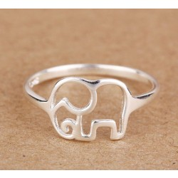 Lovely Simple Hollow Elephant Silver Ring