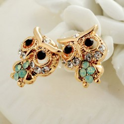 Refined Diamond Lovely Baby Owl 18K Gold-plated Fashion Earrings