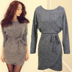 Slim Irregular Bat Sleeve Bow Belt Dress