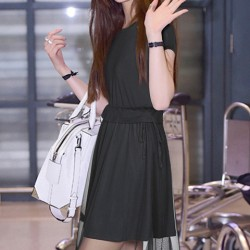 Fashion Net Yarn Splicing Short-sleeve Solid Round-neck Bandage Waist Dress