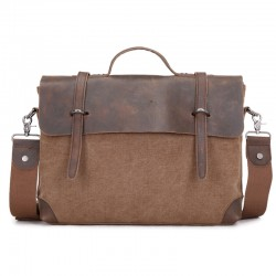 Leisure Leather Solid Canvas Briefcase Handbag Laptop Messenger Bag Shoulder Bag