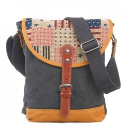 Western style Retro US Flag Zipper Hasp Stripe Canvas Shoulder Bag Messenger Bag