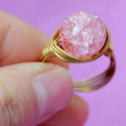 Natural Jelly Pink Crystal Ball Hand Winding Brass Rings