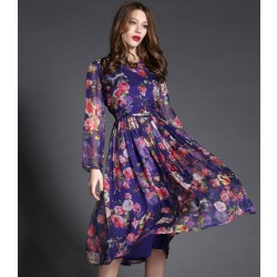 New High-end Owl Printing Long Dress