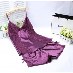 Summer Sexy Silk Home Comfortable Two-piece Pajamas