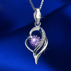 Noble Hollow Diamond Heart-Shaped Pendant 925 Silver Necklace