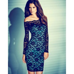 Sexy Boat Neck Lace Strapless Dress