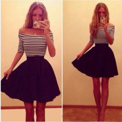 Fashion Stripe Strapless Slim Dress