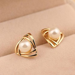 Lovely Triangle Pearl Earring Studs
