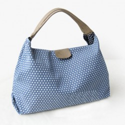 Sweet Dot Print Lace Canvas Handbag