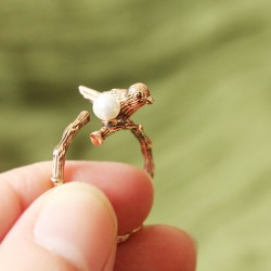 Retro Bird Pearl Opening Animal Wrap Ring