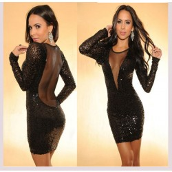 Sexy Spliced Perspective Backless Sequined Dress