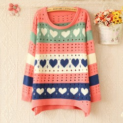 Lovely Heart Hollow Sweater & Sweet Cardigan