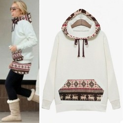 Folk Style Winter Coat Plus Thick Velvet Hooded Deer Sweater