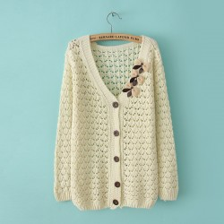 Retro Fresh Bow Hollow Out Slim Sweater
