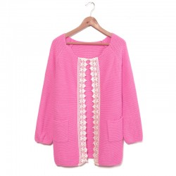 Fashion Lace Weave Rose Sleeve Sweater &Cardigan