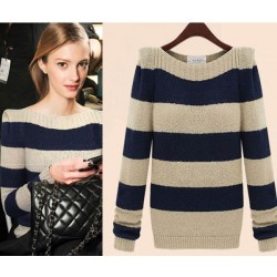 New Retro Striped Round Neck Sweater &Cardigan