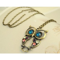 Retro Fashion Lovely Animal Owl Sweater Necklace