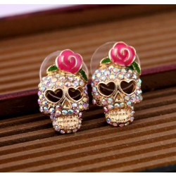 Retro Cool Rose Skull Love Earrings Studs