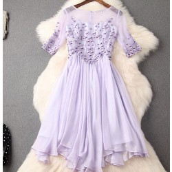 Unique Handmade Beading Embroidery Silm Dress Party Dress