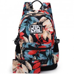 Fashion Leaves Printing Rucksack  Harajuku Waterproof Large School Travel Backpack