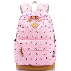 Preppy Style Deer Printing Canvas Rucksack Fawn Girl CollegeBackpacks