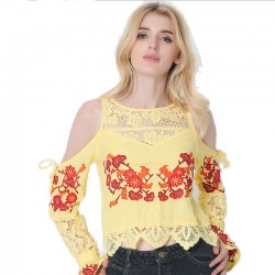 Women Embroidery Long Sleeve Tee Lace Splice Loose Shirt Blouse Ladies Tops
