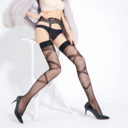 Sexy Perspective Stockings Over Knee Garter Cross Jacquard Socks Women Lingerie