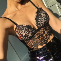 Sexy Eyelash Lace Camisoles Bras Intimate Ultra-thin Sling Women Lingerie