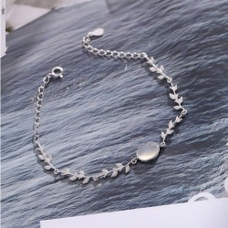 Unique Moonstone Leaves Silver Bracelet Lover Present Girlfriend Gift Women Bracelet