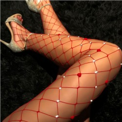 Sexy Fishing Net Diamond Hollow Grid Leggings Lingerie Stockings