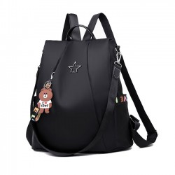 New Black Star Button High School Bag Multi-function Oxford Large Shoulder Bag Backpack