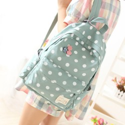 Fresh Polka Dot Canvas Backpack & Book Bag